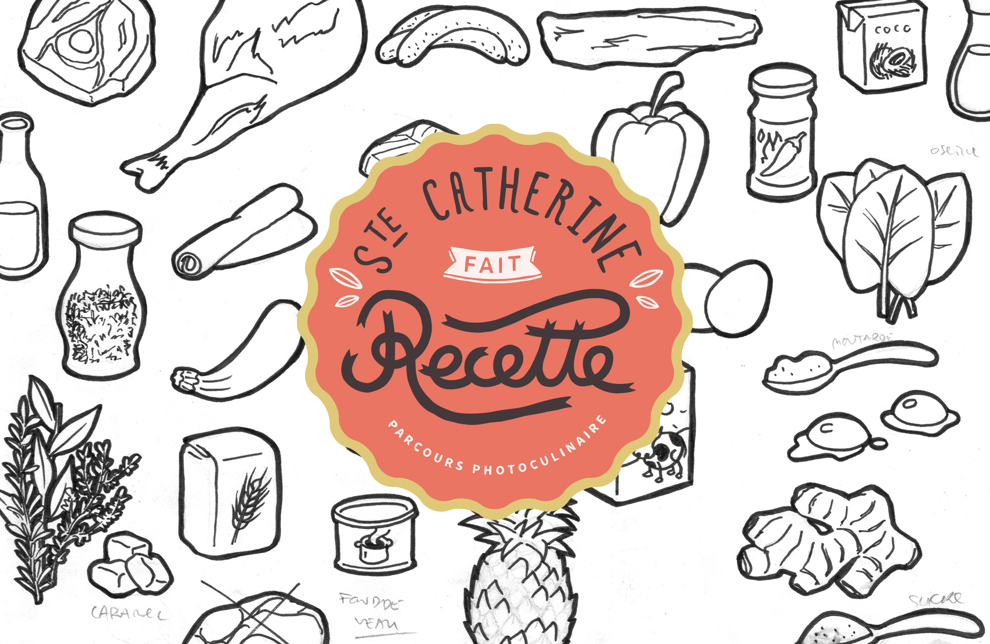 Logo de Sainte Catherine fait recette avec un fond de dessins d'ingrédients